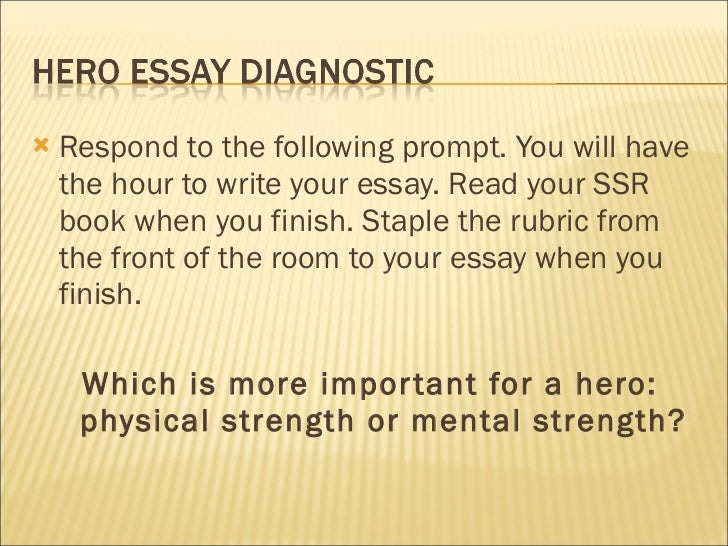 <ul><li>Respond to the following prompt. You will have the hour to write your essay. Read your SSR book when you finish. S...