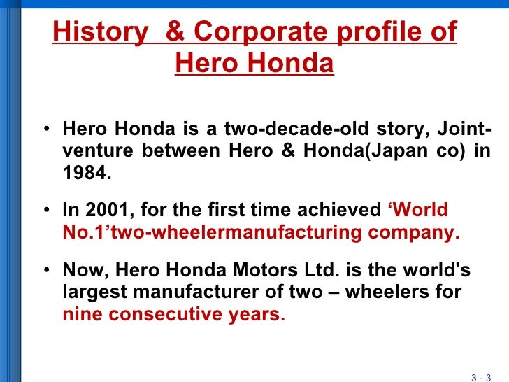 hero honda industrial profile Hrl has developed a couple of industrial parks in the state of uttrakhand to  for  minimum transit damage and reduced logistic costs for hero motocorp ltd,.