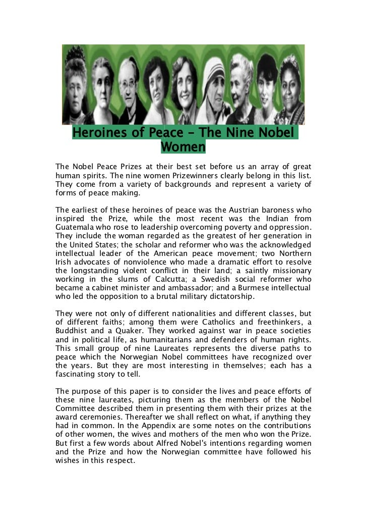 Heroines of Peace – The Nine Nobel                  WomenThe Nobel Peace Prizes at their best set before us an array of gr...