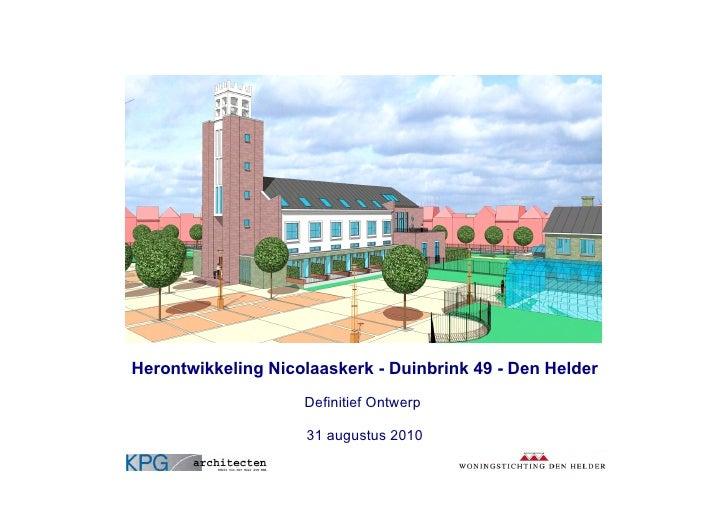 Herontwikkeling Nicolaaskerk Den Helder A3 Bladen 31augustus2010