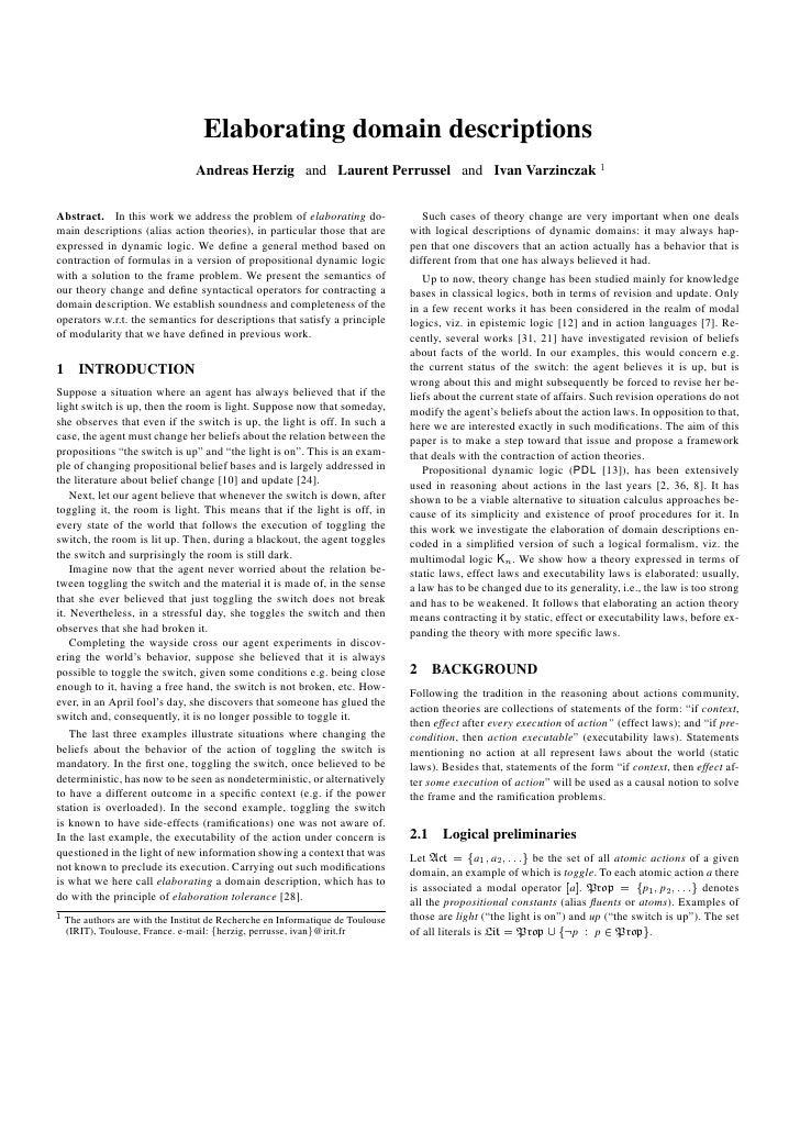 Elaborating domain descriptions                                 Andreas Herzig and Laurent Perrussel and Ivan Varzinczak 1...