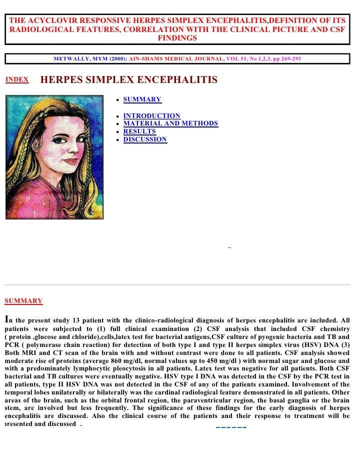 Reseach section...Herpes simplex encephalitis