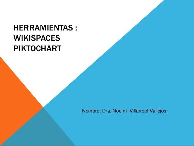 HERRAMIENTAS :WIKISPACESPIKTOCHART                 Nombre: Dra. Noemí Villarroel Vallejos