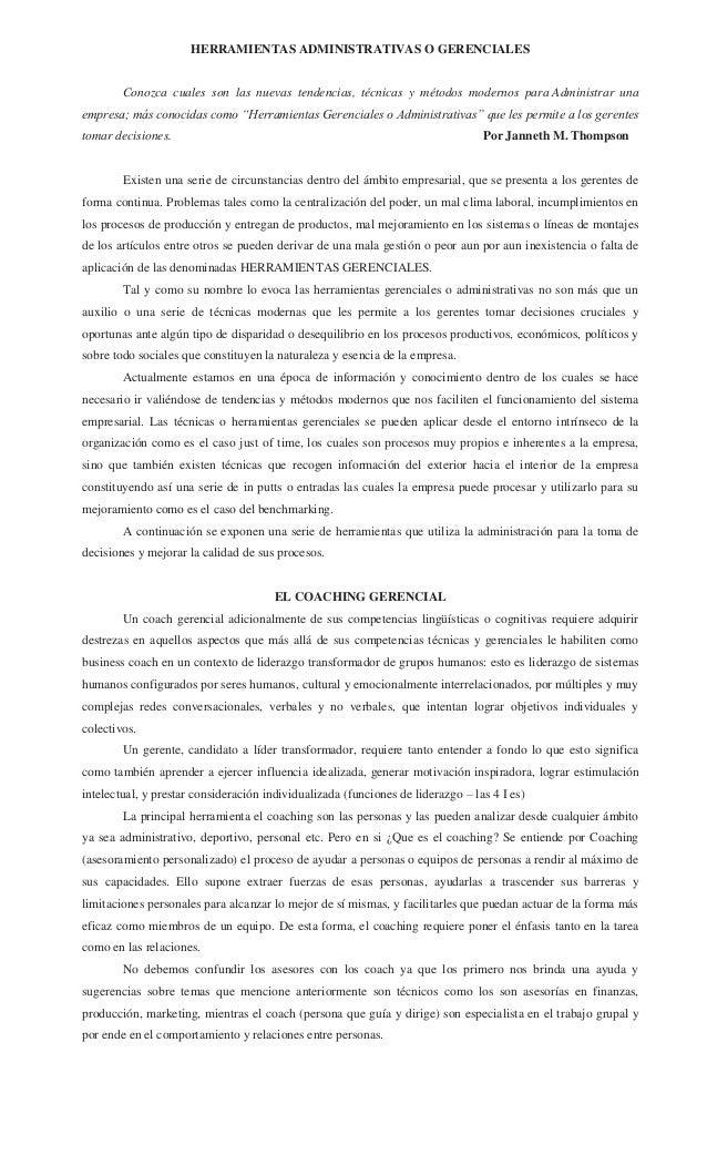 HERRAMIENTAS ADMINISTRATIVAS O GERENCIALES        Conozca cuales son las nuevas tendencias, técnicas y métodos modernos pa...