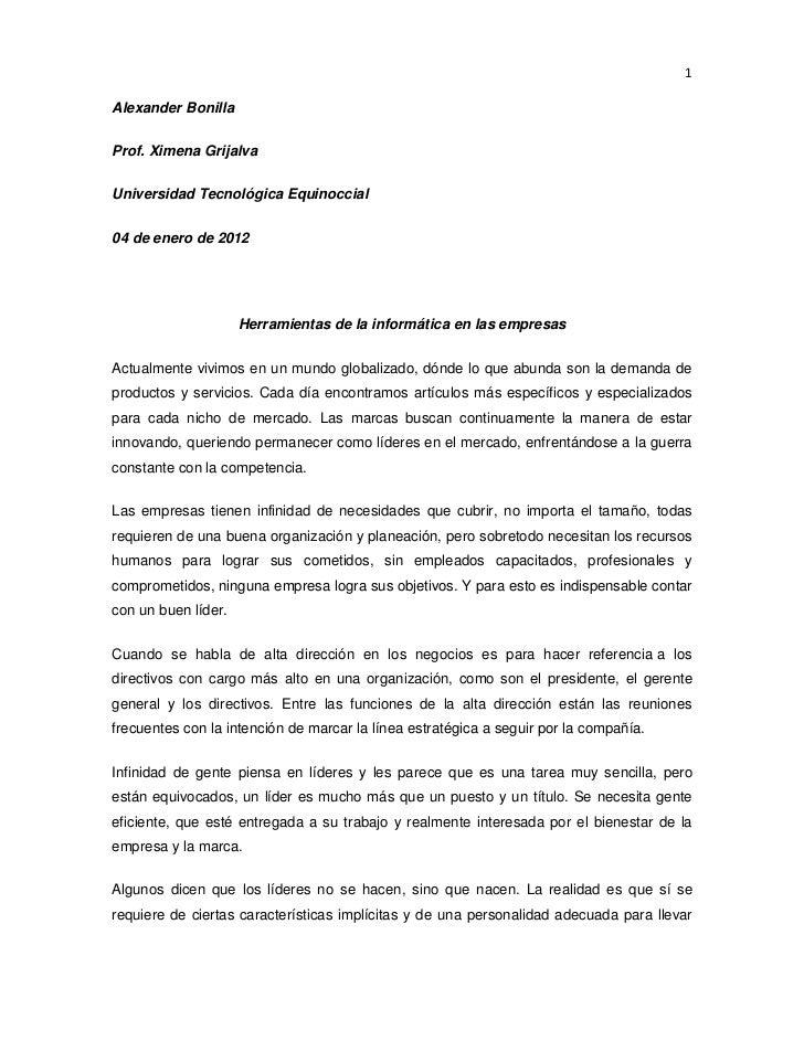 1Alexander BonillaProf. Ximena GrijalvaUniversidad Tecnológica Equinoccial04 de enero de 2012                     Herramie...