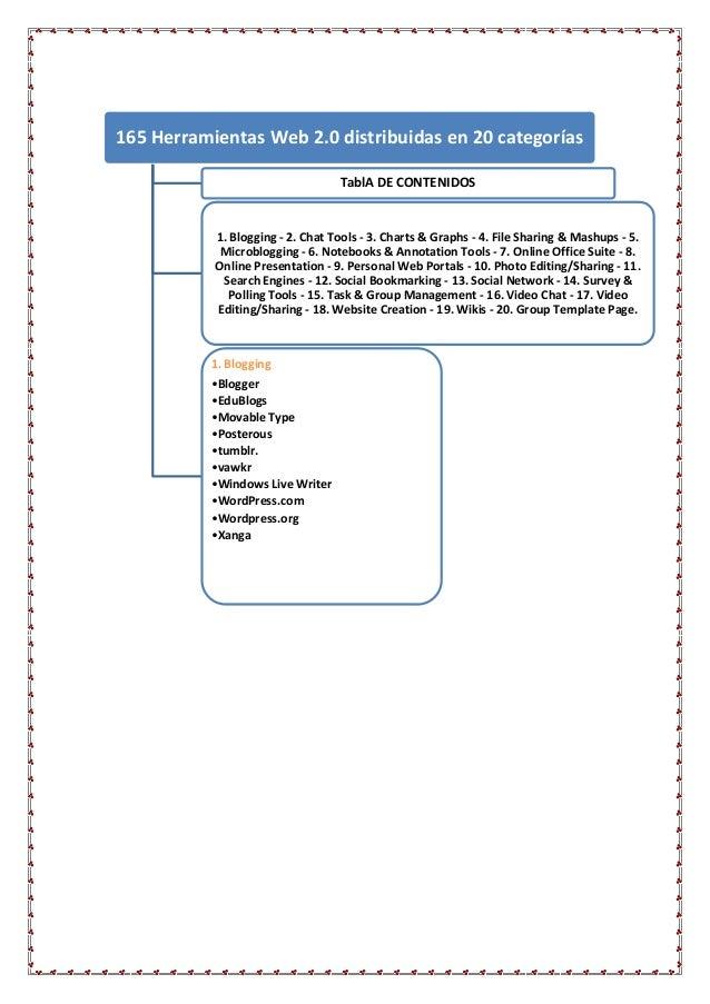 165 Herramientas Web 2.0 distribuidas en 20 categorías                                  TablA DE CONTENIDOS           1. B...
