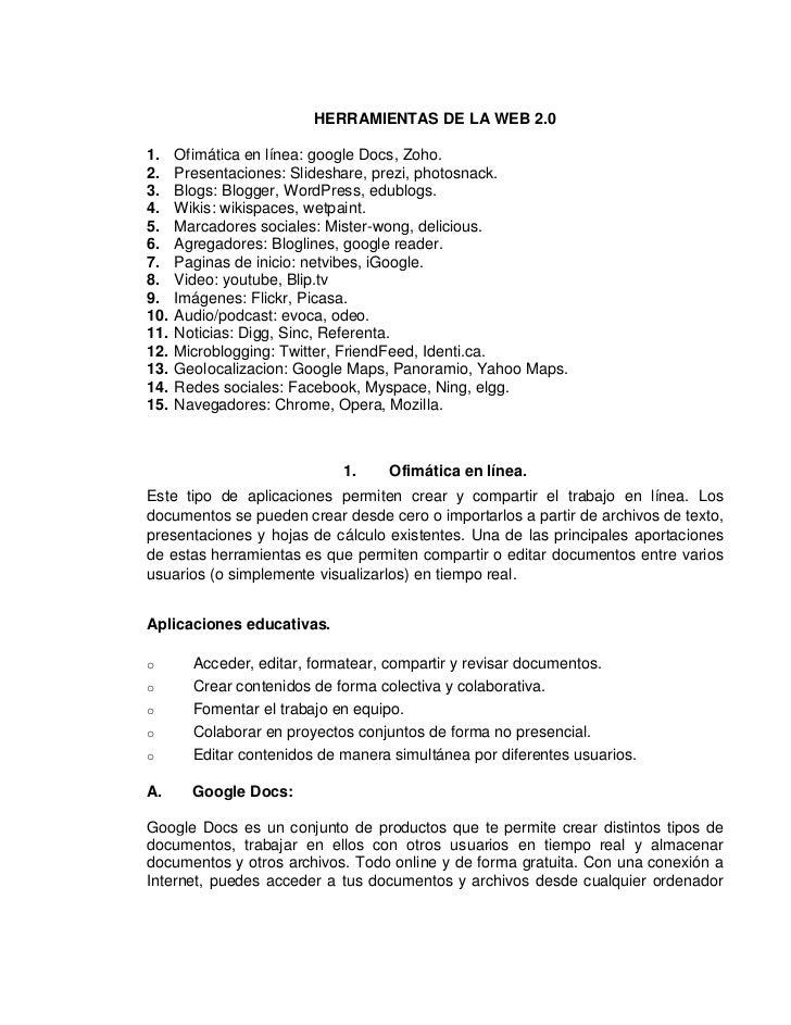 HERRAMIENTAS DE LA WEB 2.01.    Ofimática en línea: google Docs, Zoho.2.    Presentaciones: Slideshare, prezi, photosnack....