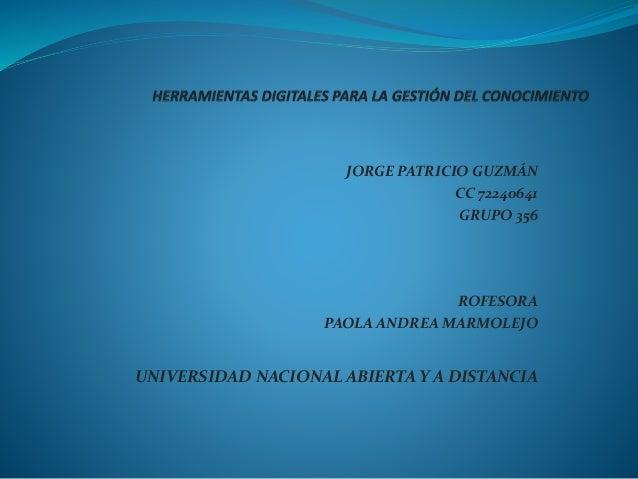JORGE PATRICIO GUZMÁN CC 72240641 GRUPO 356 ROFESORA PAOLA ANDREA MARMOLEJO UNIVERSIDAD NACIONAL ABIERTA Y A DISTANCIA