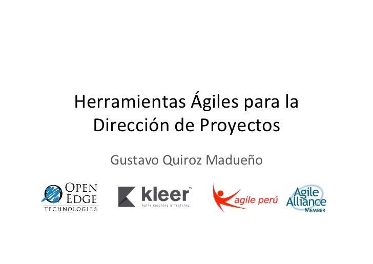 Herramientas Ágiles para la Dirección de Proyectos