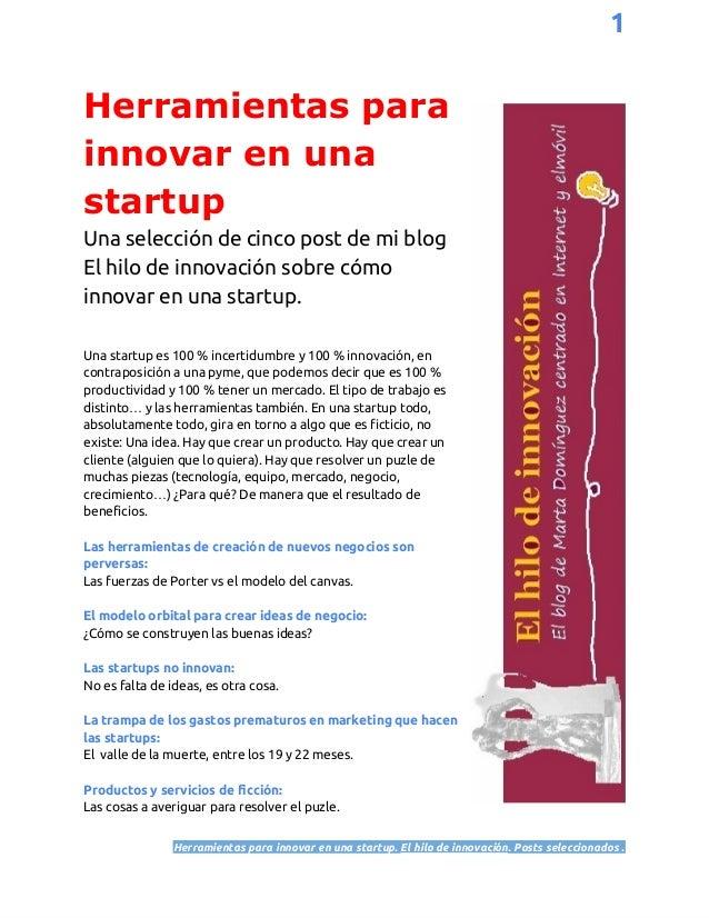 Herramientas para innovar una startup - selección de post (1) El hilo de Innovación (Marta Domínguez)