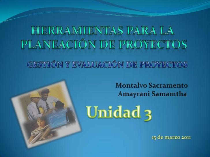 Herramientas para la <br />Planeación de proyectos<br />GESTIÓN Y EVALUACIÓN DE PROYECTOS<br />Montalvo Sacramento <br />A...