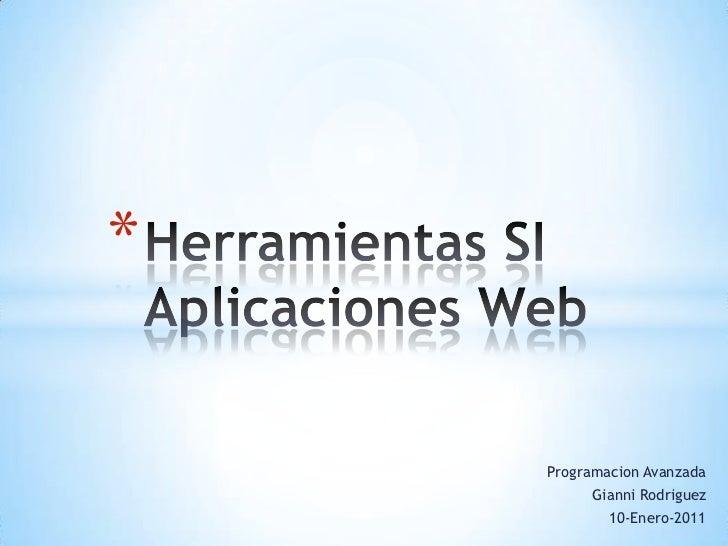 Herramientas SI para Aplicaciones Web - Gianni Rodriguez
