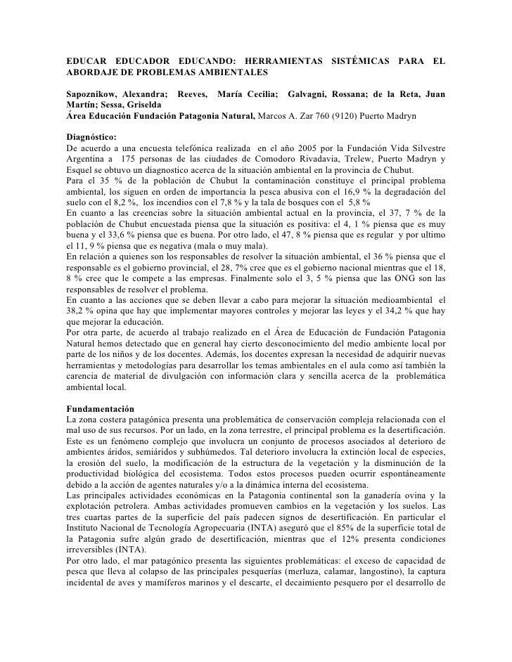 EDUCAR EDUCADOR EDUCANDO: HERRAMIENTAS SISTÉMICAS PARA EL ABORDAJE DE PROBLEMAS AMBIENTALES  Sapoznikow, Alexandra; Reeves...