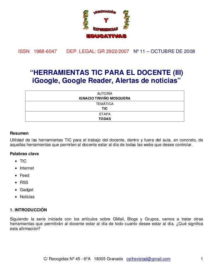 """ISSN 1988-6047           DEP. LEGAL: GR 2922/2007 Nº 11 – OCTUBRE DE 2008           """"HERRAMIENTAS TIC PARA EL DOCENTE (III..."""