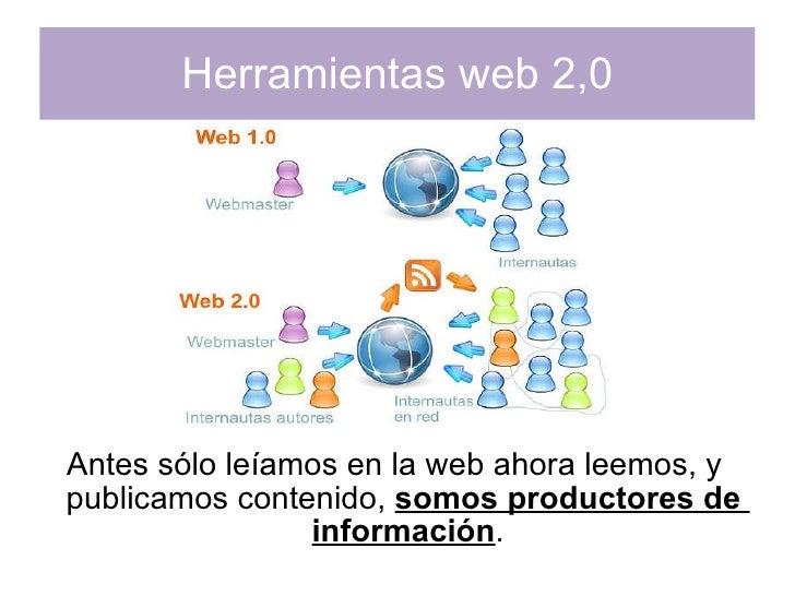 Herramientas web 2,0 Antes sólo leíamos en la web ahora leemos, y publicamos contenido,  somos productores de  información .