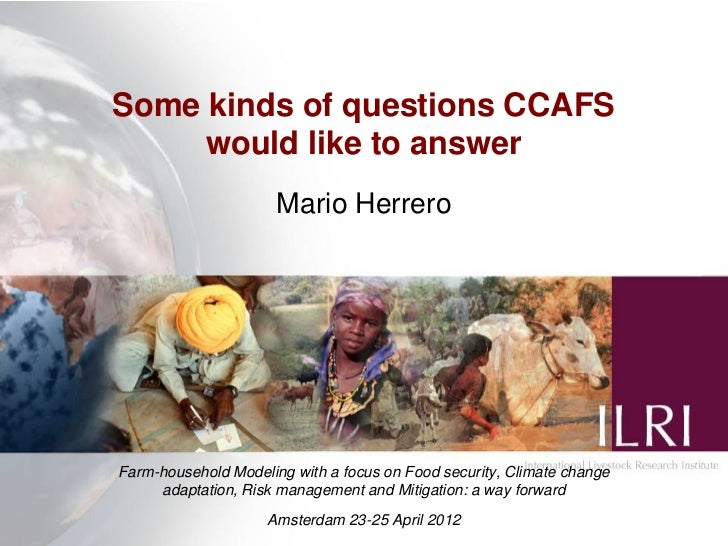 Some kinds of questions CCAFS     would like to answer                      Mario HerreroFarm-household Modeling with a fo...
