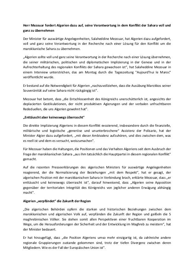 Herr Mezouar fordert Algerien dazu auf, seine Verantwortung in dem Konflikt der Sahara voll und ganz zu übernehmen Der Min...