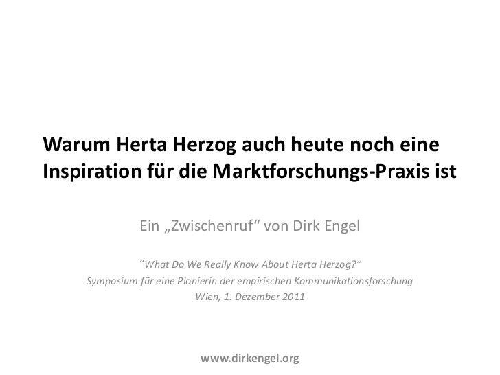 """Warum Herta Herzog auch heute noch eineInspiration für die Marktforschungs-Praxis ist              Ein """"Zwischenruf"""" von D..."""
