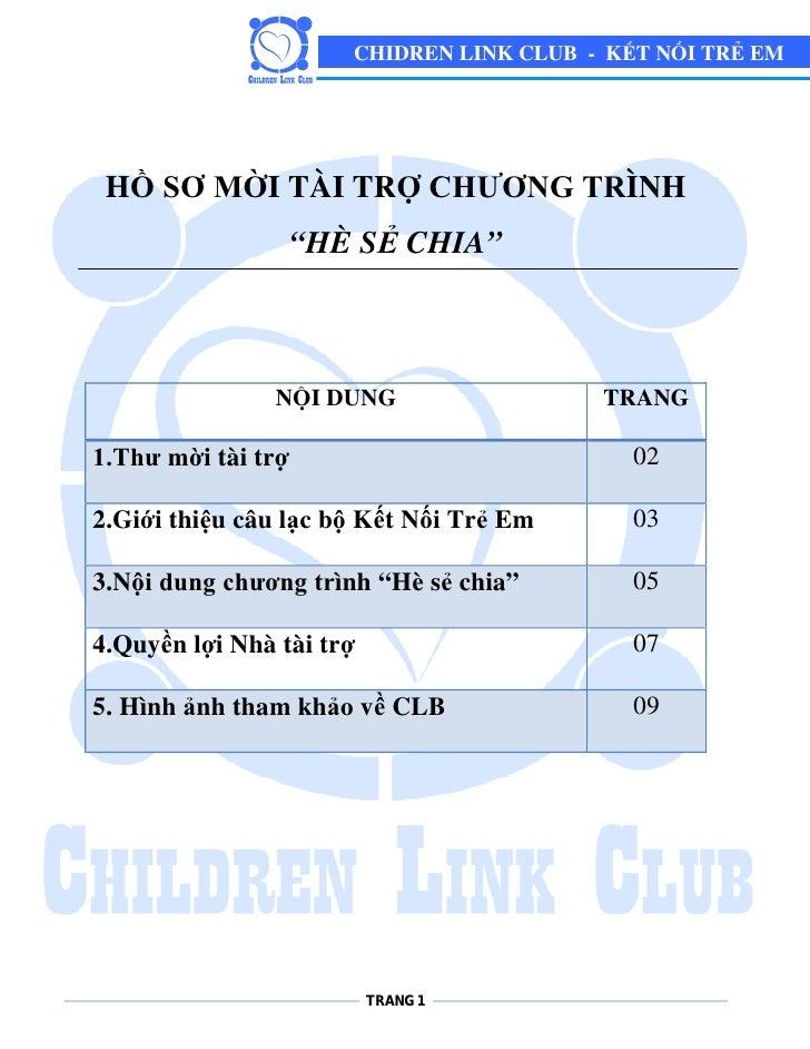 """CHIDREN LINK CLUB - KẾT NỐI TRẺ EM      HỒ SƠ MỜI TÀI TRỢ CHƯƠNG TRÌNH                     """"HÈ SẺ CHIA""""                   ..."""
