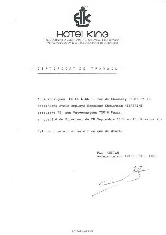 Hesperine certificats