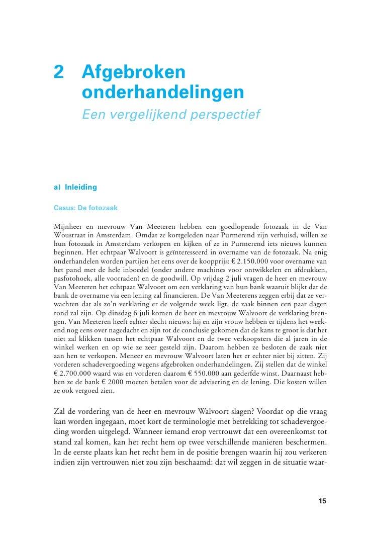 2 Afgebroken  onderhandelingen         Een vergelijkend perspectiefa) InleidingCasus: De fotozaakMijnheer en mevrouw Van M...