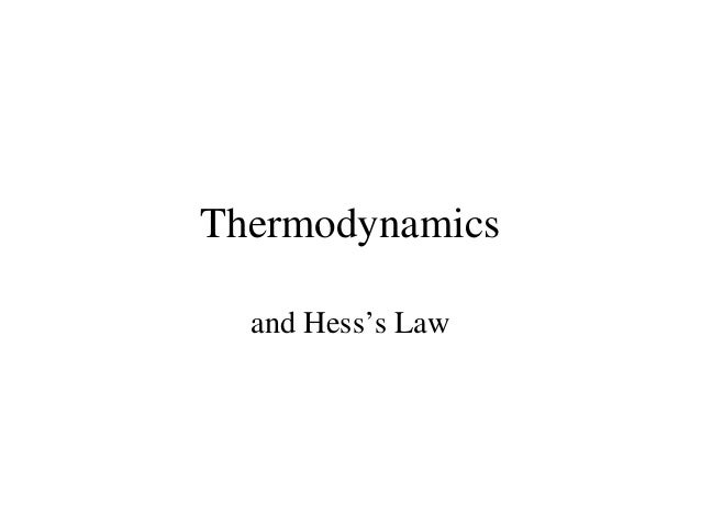 Hess Law And Thermodynamics