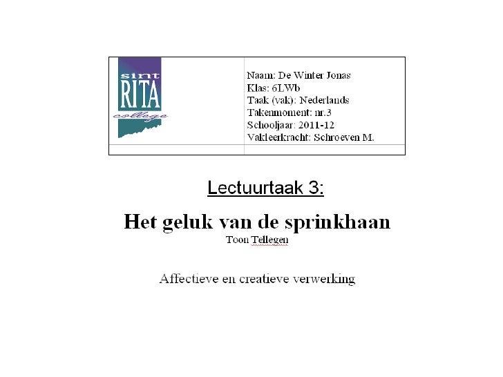 Lectuurtaak Nederlands: Het geluk van de sprinkhaan