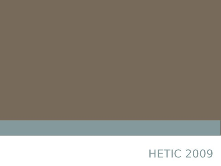 Presentation HETIC 01/09