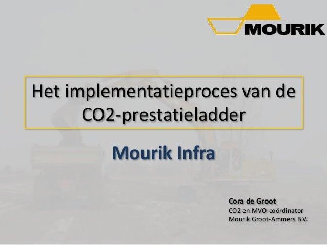 Het implementatieproces van de CO2-prestatieladder Mourik Infra Cora de Groot CO2 en MVO-coördinator Mourik Groot-Ammers B...