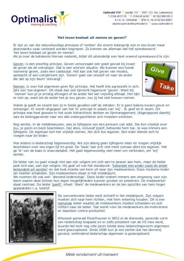 Special Insight # 48 - Het leven bestaat uit nemen en geven