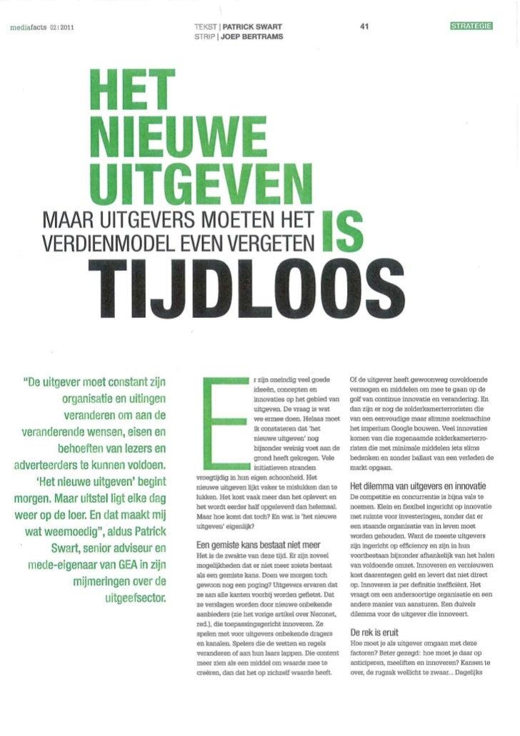 Het Nieuwe Uitgeven Is Tijdloos Mediafacts 02 2011