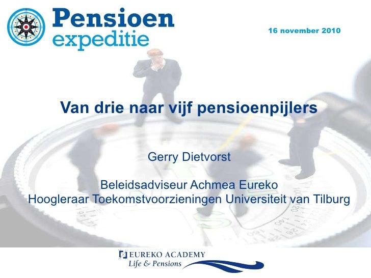 Van drie naar vijf pensioenpijlers Gerry Dietvorst Beleidsadviseur Achmea Eureko Hoogleraar Toekomstvoorzieningen Universi...
