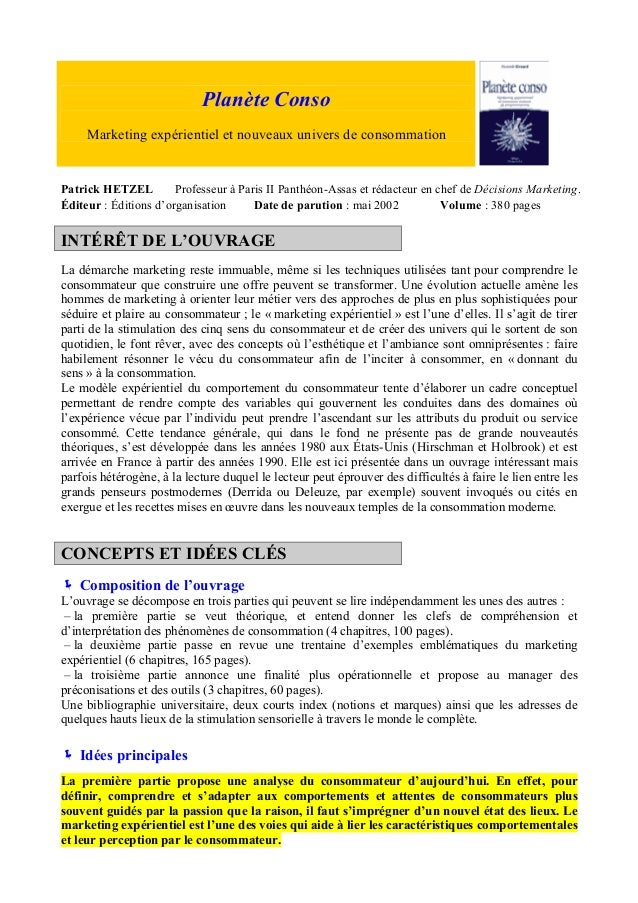 Planète Conso Marketing expérientiel et nouveaux univers de consommation  Patrick HETZEL Professeur à Paris II Panthéon-As...