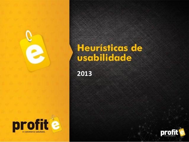2013 Heurísticas de usabilidade