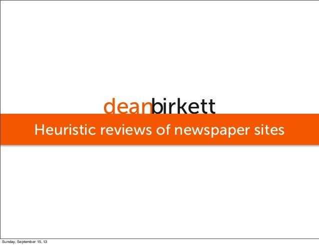 deanbirkett Heuristic reviews of newspaper sites Sunday, September 15, 13
