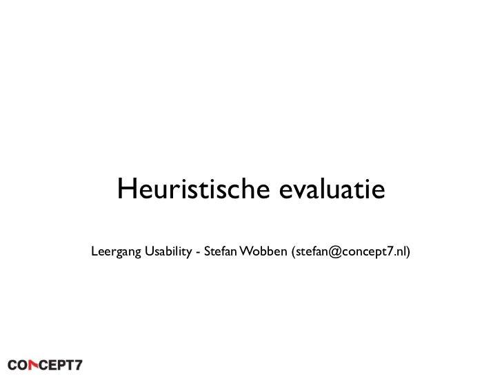 Heuristische evaluatie Leergang Usability - Stefan Wobben (stefan@concept7.nl)