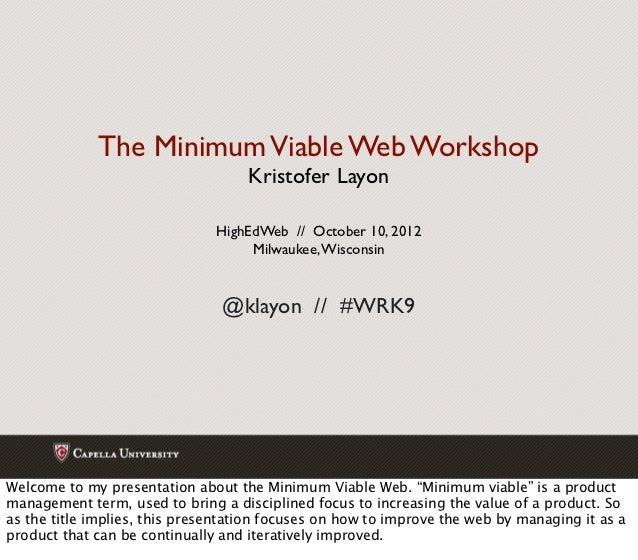 Minimum Viable Web workshop