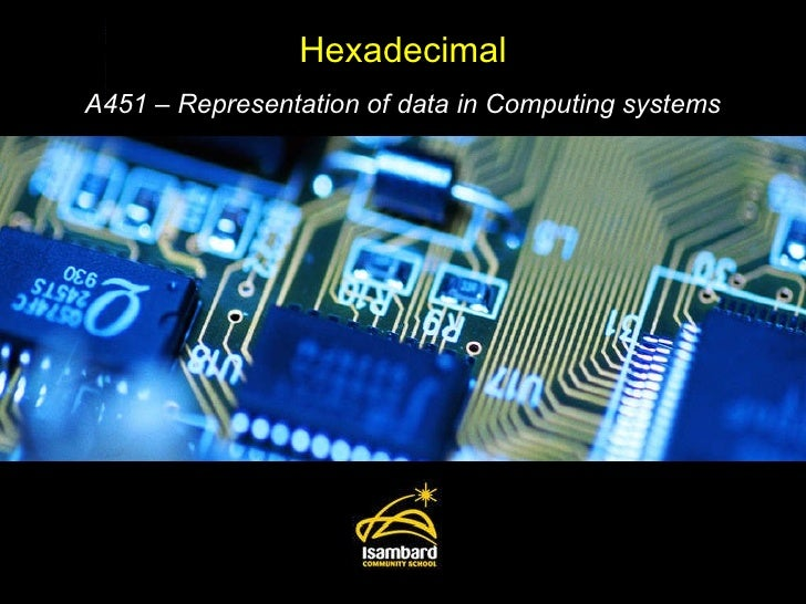 Hexadecimal A451 – Representation of data in Computing systems