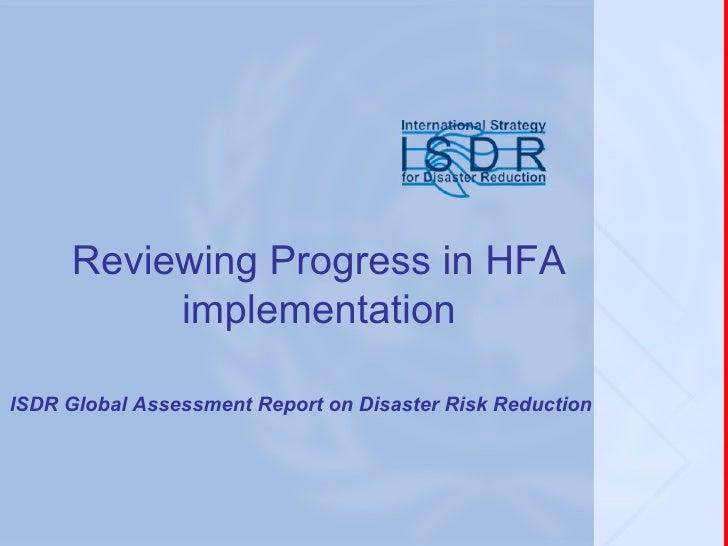 HFA Reporting Framework And Monitor