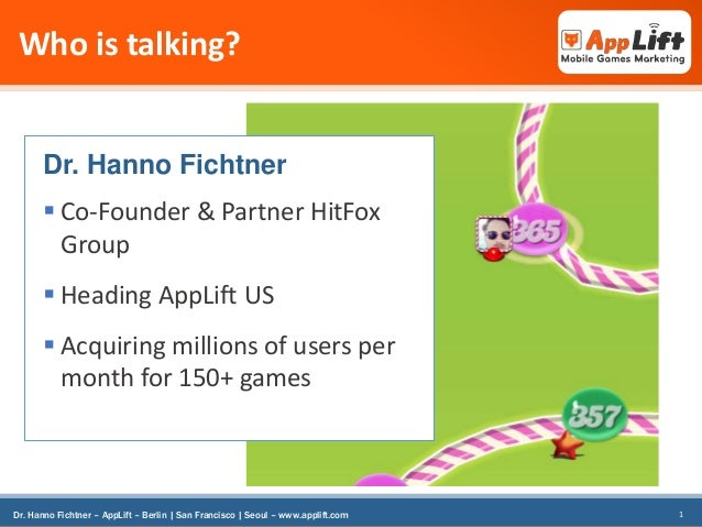 Who is talking?  Dr. Hanno Fichtner   Co-Founder & Partner HitFox Group  Heading AppLift US   Acquiring millions of use...