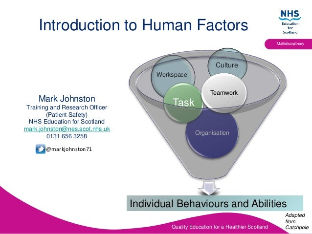 Quality Education for a Healthier Scotland Multidisciplinary Introduction to Human Factors Mark Johnston Training and Rese...