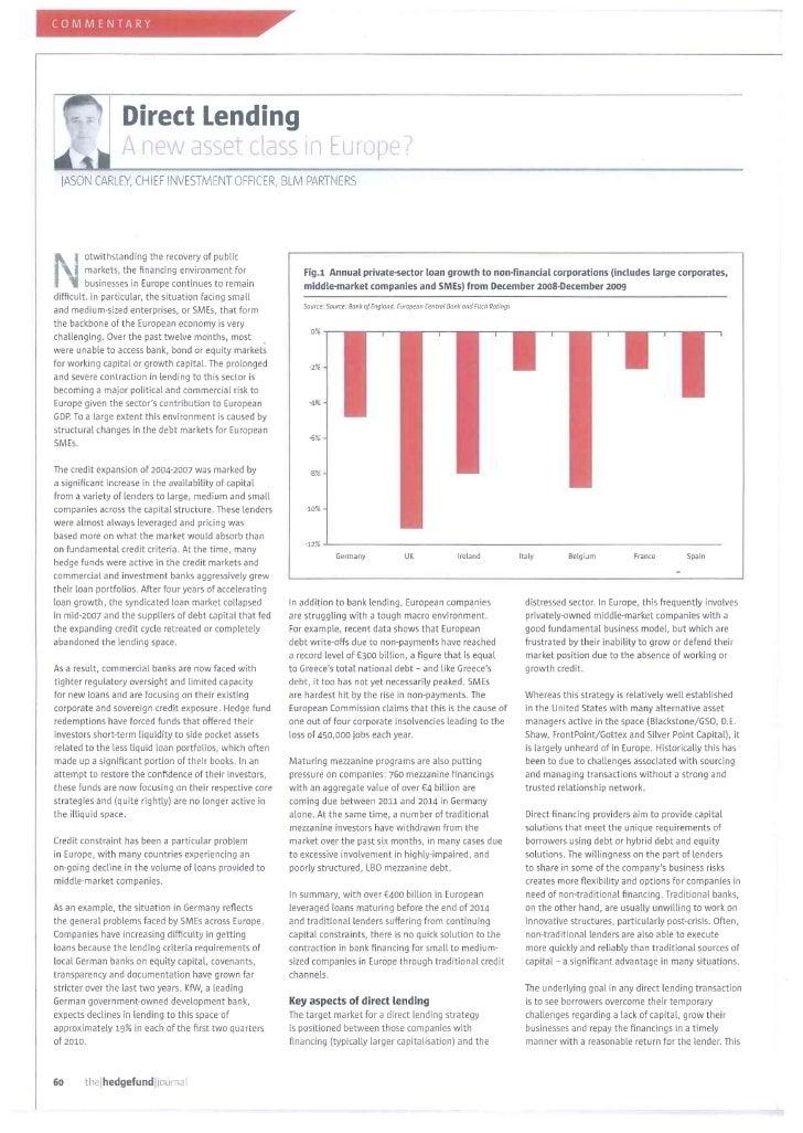 Hf journal   june 2010 - direct lending a new asset class