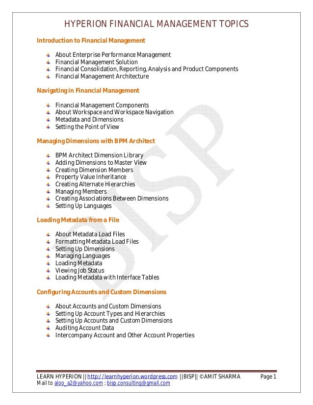 HYPERION FINANCIAL MANAGEMENT TOPICS LEARN HYPERION || http://learnhyperion.wordpress.com ||BISP|| ©AMIT SHARMA Page 1 Mai...