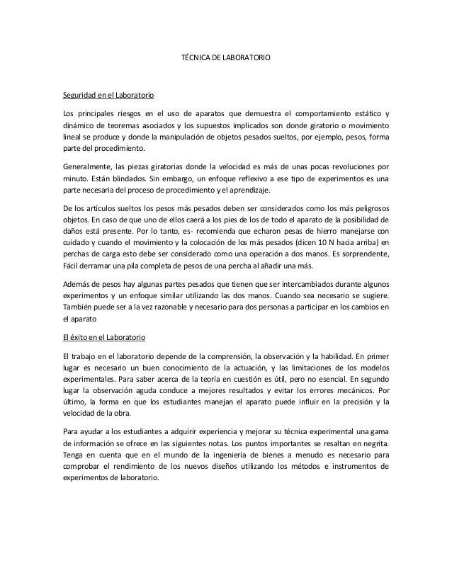 TÉCNICA DE LABORATORIO Seguridad en el Laboratorio Los principales riesgos en el uso de aparatos que demuestra el comporta...