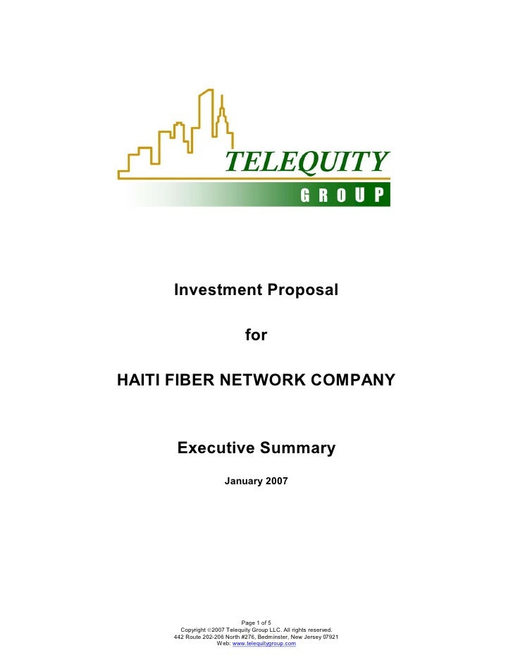 Investment Proposal                                for  HAITI FIBER NETWORK COMPANY          Executive Summary            ...