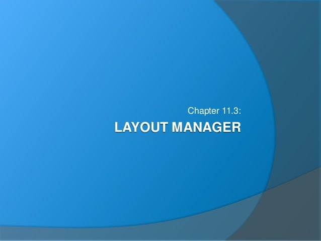 LAYOUT MANAGER Chapter 11.3:
