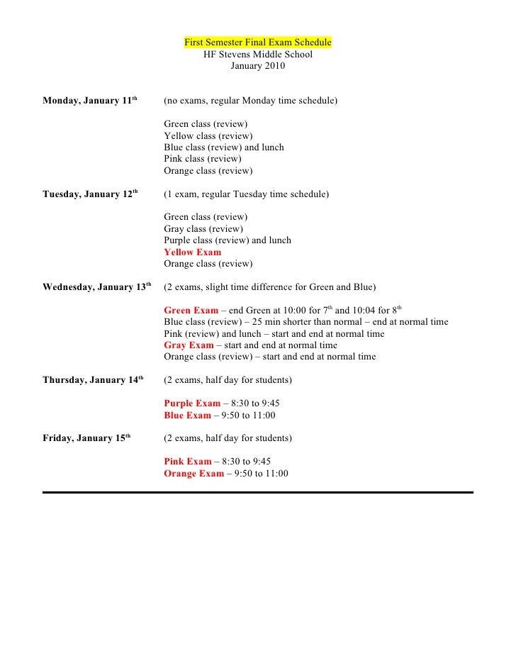 First Semester Final Exam Schedule                                     HF Stevens Middle School                           ...