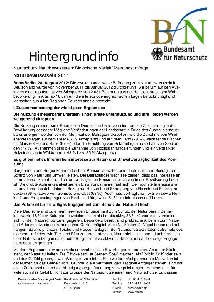 HintergrundinfoNaturschutz/ Naturbewusstsein/ Biologische Vielfalt/ MeinungsumfrageNaturbewusstsein 2011Bonn/Berlin, 28. A...