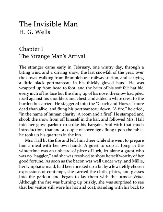 the invisible man h g wells essay questions Book reports essays: invisible man before the narrator became invisible he had sight and blindness in the invisible man the invisible man by hg wells.