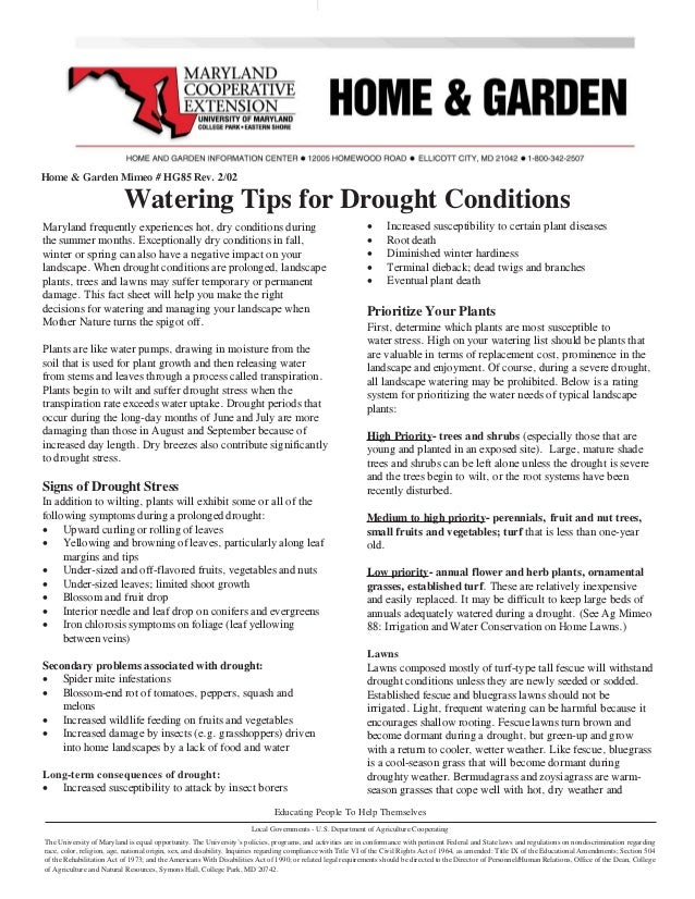 Home & Garden Mimeo # HG85 Rev. 2/02                             Watering Tips for Drought Conditions Maryland frequently ...